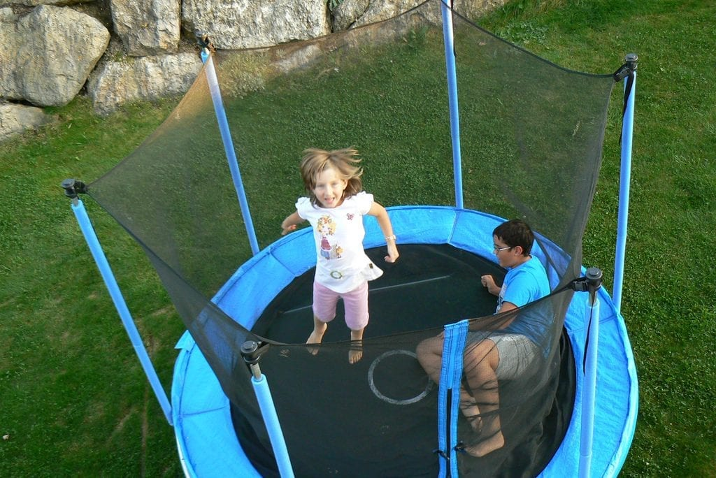 Propel trampoline with kids