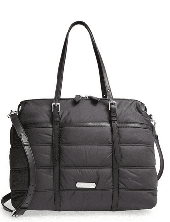 This diaper bag in black is quilted, has crossbody strap and a leather top handle handbag. Will you get a mom purse like this