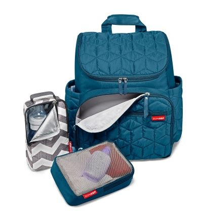 This mom purse blue diaper bag has insulated bottles holder and changing pad. It also has open pockets and the best thing is, it has unisex bag option,
