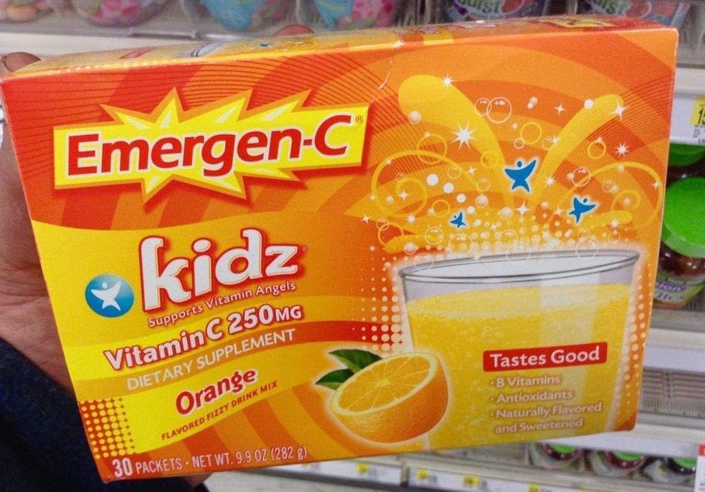 Emergen-C, child vitamin supplements to boost immunity. Rich in Vitamin C in orange flavor.