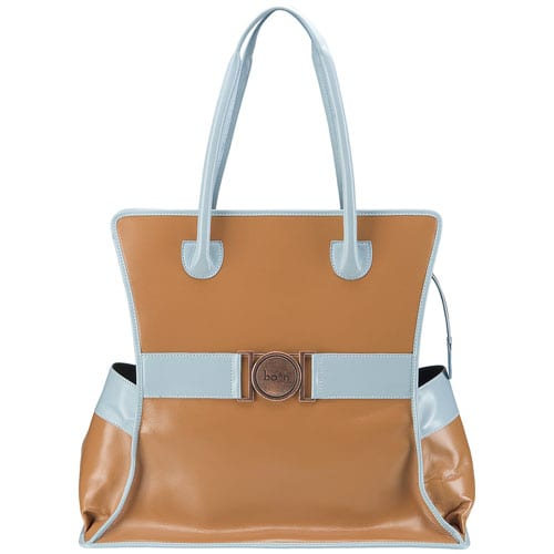 Acorn and powdered blue mom's leather diaper bag with side pockets. One of the best color combination of leather purses so far.
