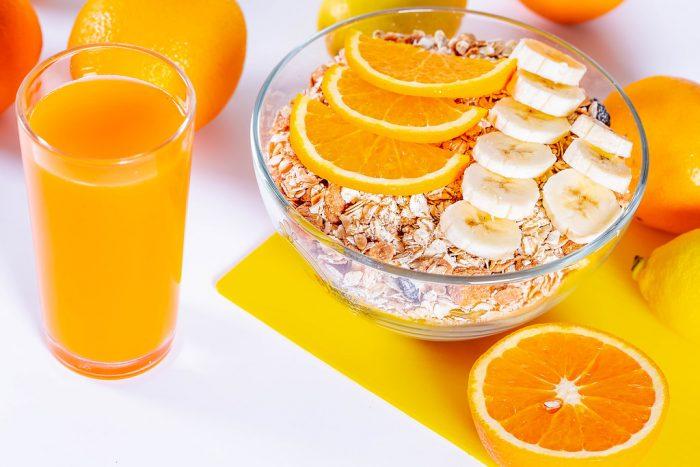 Fresh Orange and banana are good source of dietary fiber.