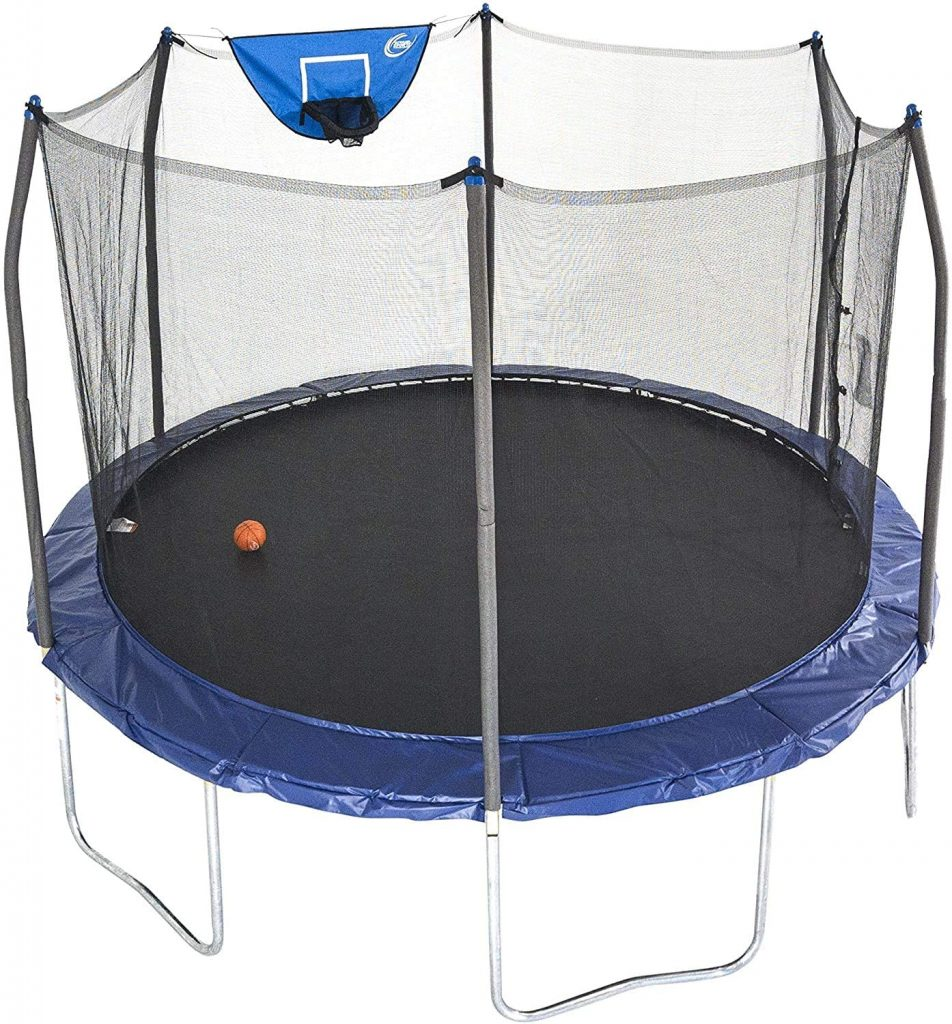 Skywalker Trampolines 12-Foot Jump N' Dunk Trampoline: The trampoline almost has the same features as the trampoline above, the only difference it its size. The Skybound Skywalker Trampoline is a big sized trampoline that can fit 2-4 kids, its frame is 12 ft in diameter and the jump area is 10 ft in size.
