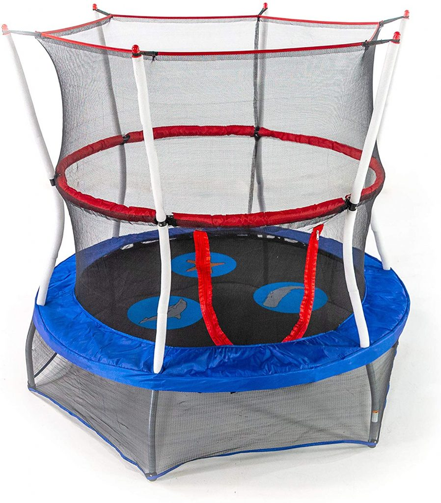 Skywalker Trampolines Mini Trampoline has a safe design and it has a 360 degree padded handle bar. Skybound Trampolines Mini Trampoline includes a 40 inches round lily pad adventure jumping mat. The trampoline frame comes with a 3-year limited warranty.