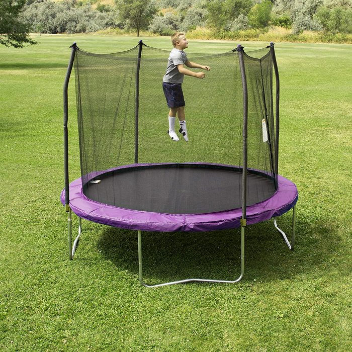 Skybound Skywalker Trampoline 10 -Foot Round Trampoline: These Skybound trampolines are designed to ensure kids safety. This Trampoline has patented enclosure and net surrounding the frame to protect the kids while playing.