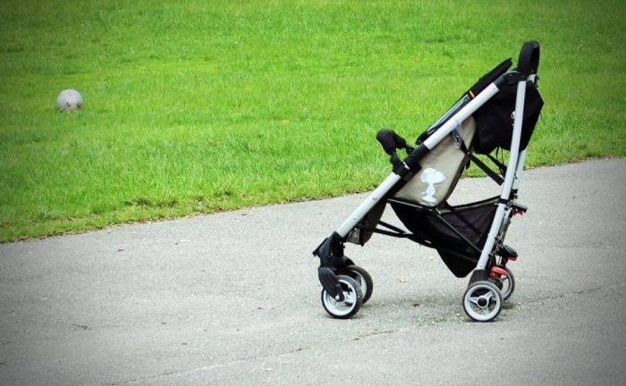 A regular stroller. Know the pros and cons of 4 wheel stroller.