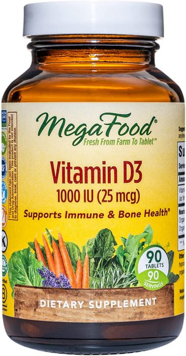 MegaFood Vitamin D3 1000 IU, a dietery supplement made in USA