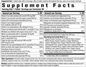 Megafood vitamins for women made in the USA supplement facts