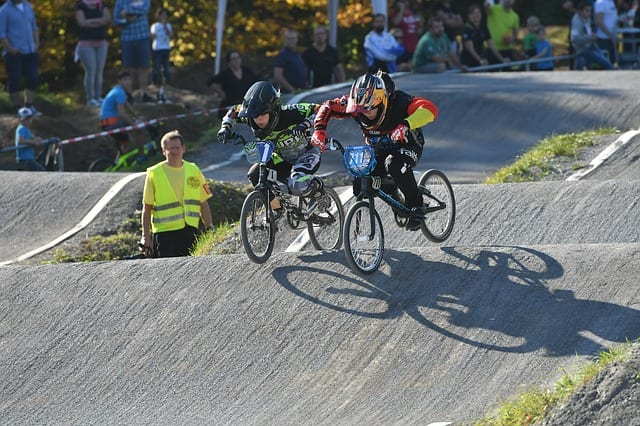 Kids racing using BMX racing bikes