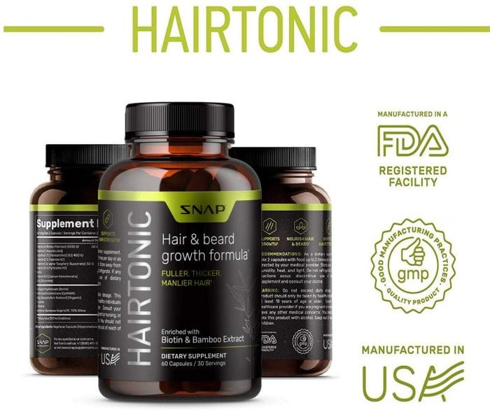 Hairtonic hair & beard growth formula is made in USA. This hair supplment is great for men with thinning hair.