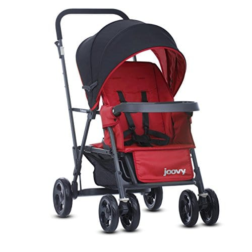 Joovy Caboose Stroller. This red and black umbrella type of double stroller is lightweight and portable.