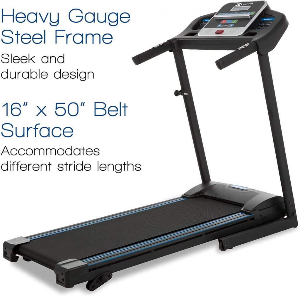 """XTERRA Fitness TR150 Folding Treadmill Heavy Gauge Steel Frame. This treadmill has 16""""x50"""" belt surface that accommodates different stride lengths."""