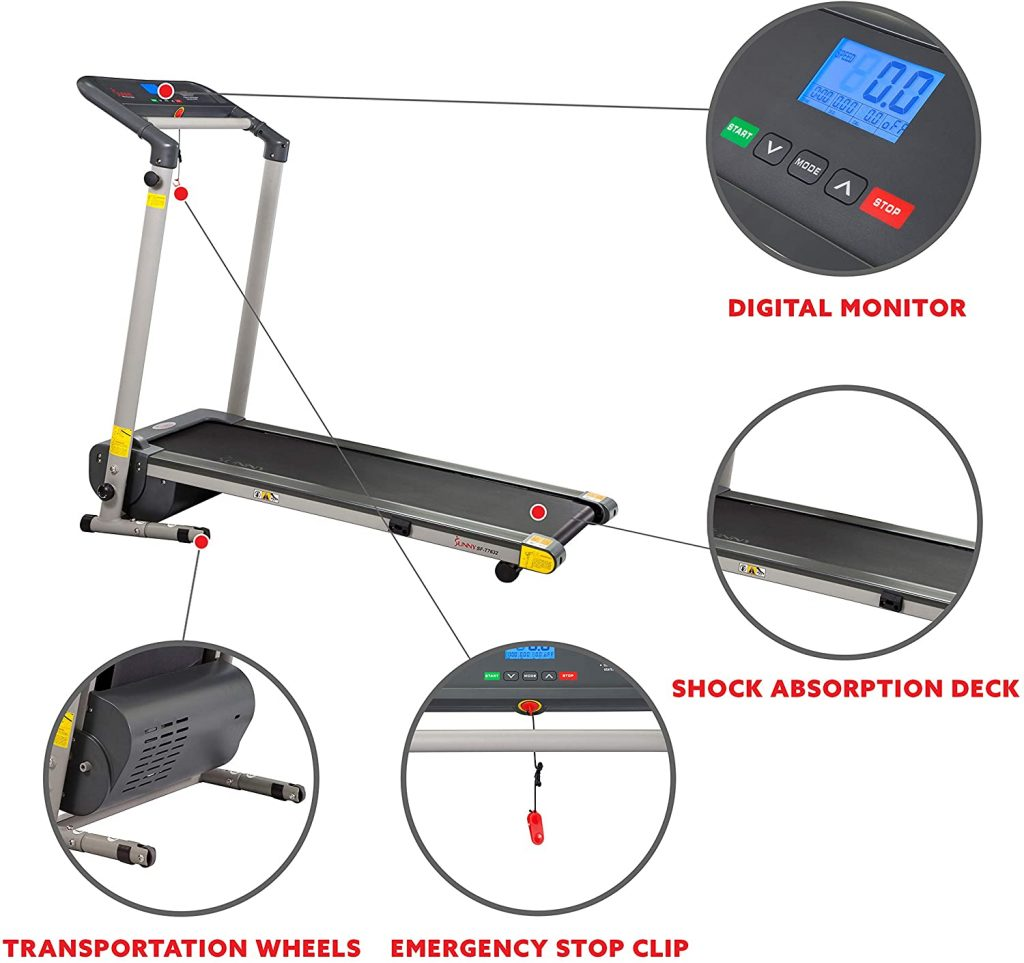 Sunny Health and Fitness treadmill machine. Check out the treadmill's digital monitor, wheels and other parts of this exercise equipment.