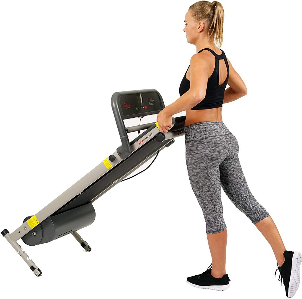 Sunny Health & Fitness SF-T7632 w/LCD Display treadmill with wheels for easy transport
