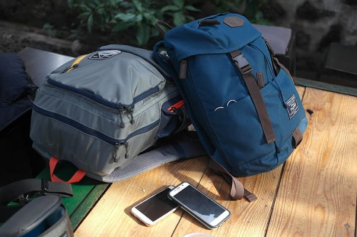 backpacks in grey and blue color
