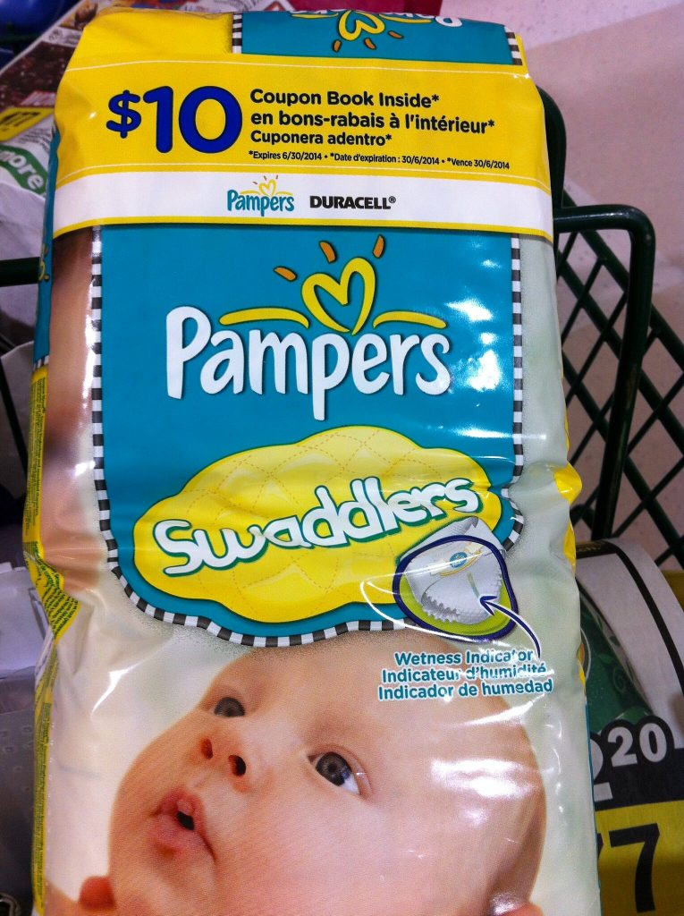 Pampers Swaddlers with $10 coupon. This Pamper Swaddlers has wetness indicator and will keep your baby stay dry.