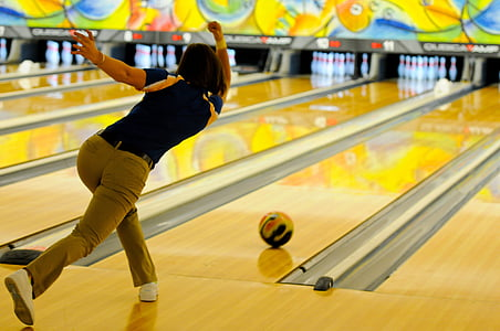 Using a good bowling ball for nice straight shot!