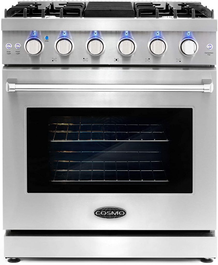 Cosmo COS-EPGR304 Slide-In Freestanding Gas Range with 5 Sealed Burners