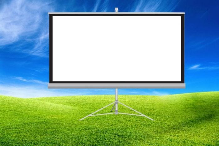 Projector screen is made from different materials, designed for different situations.