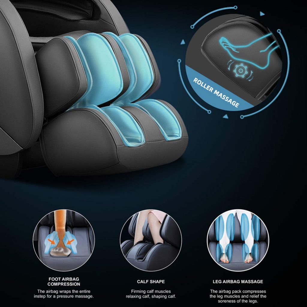 Heat therapy for massage in this massage chair and chair has one year warranty. chair